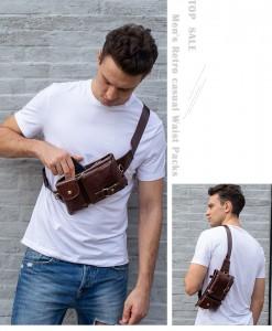 Túi da đeo bụng - BHM9080N vừa có thể đeo ngực vừa có thể đeo vai.