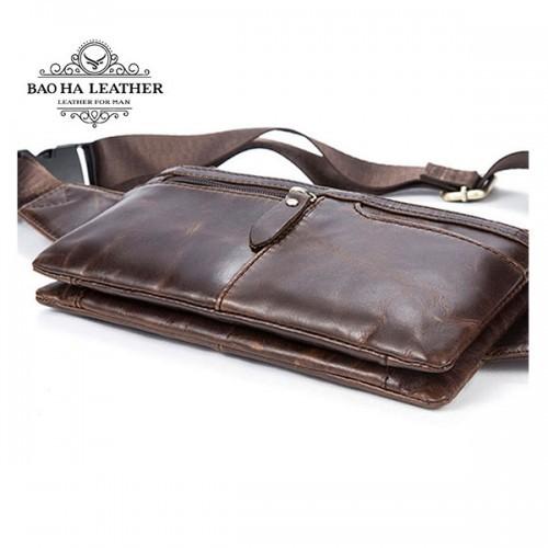 Túi da beeo bụng BHM8943 màu OIil Coffee