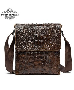 Túi đeo chéo vân cá sấu - BHM9881 màu Cà phê