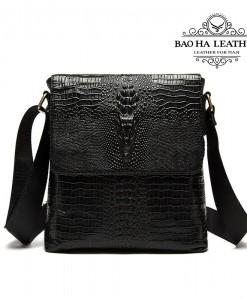 Túi đeo chéo nam da bò dập vân cá sấu - BHM4010