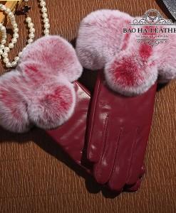 Găng tay da cừu nữ cao cấp - BH6601 màu Đỏ mận