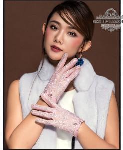 Găng tay nữ da cừu phối ren - BH6473 màu Hồng
