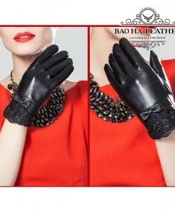 Găng tay nữ da cừu phối ren - BHY5122 - Nữ tính nhẹ nhàng