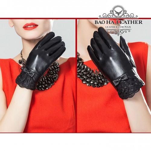 Găng tay nữ da cừu phối ren - BHY5122 - Nữ tính nhẹ nhàng, rất ôm tay