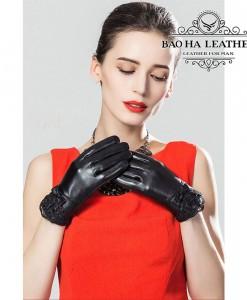 Găng tay nữ da cừu phối ren - BHY5122 bền bỉ với chất liệu da cừu thật