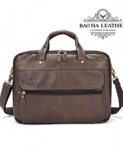 Túi xách laptop da bò - BHM8897N - Màu Nâu cà phê mới