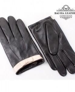 Găng tay viền nơ lót lông thỏ - BH6495