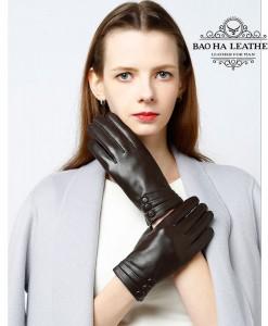 Găng tay nữ da cừu cúc bấm - BH6736