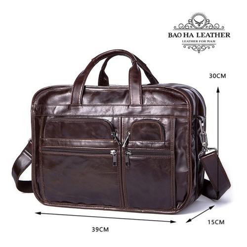 Cặp laptop công sở da bò nam - 8893 - Thiết kế cặp dày hơn - rộng hơn để bạn thoải mái để phụ kiện cho chuyến công tác