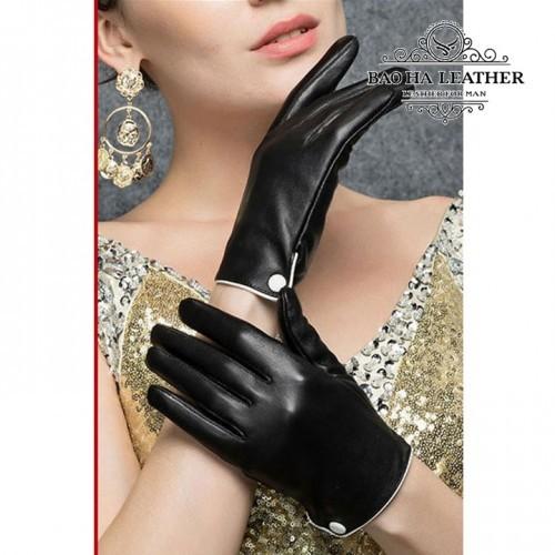 Găng tay nữ da cừu cúc trắng - BHY9748