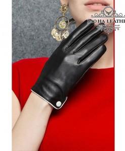Găng tay nữ da cừu cúc trắng - BHY9748 Cảm ứng, giữ nhiệt, chống nước tốt