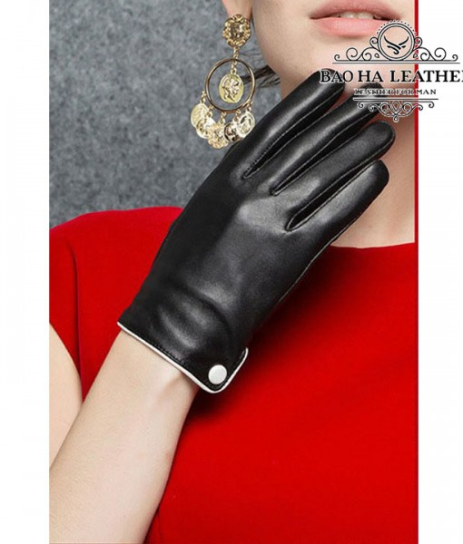 Găng tay nữ da cừu cúc trắng - BHY9748 (4)