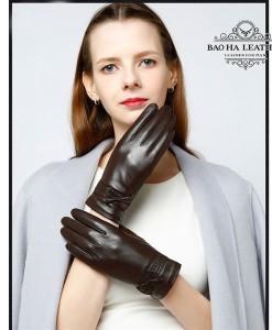 Găng tay nữ da cừu phối nơ - BH6748 màu Nâu