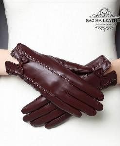 Găng tay nữ da cừu phối nơ cao cấp - BH6735 màu Đỏ rượu vang