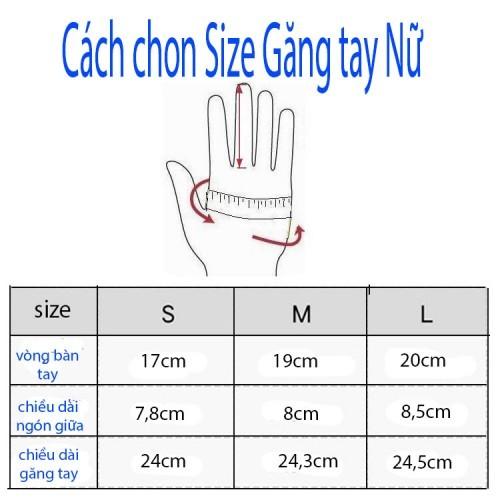 Các chọn size găng tayda nữ tại Dabaoha,com