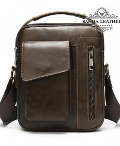 Túi da đeo chéo nam da thật nhỏ gọn - BHM8211C Màu Cà phê