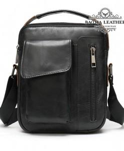 Túi da đeo chéo nam da thật nhỏ gọn - BHM8211D màu đen thoải mái kết hợp đồ mặc