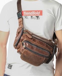 Túi da đeo bụng nam - BHM8355 Đa năng với có thể đeo bụng, đeo ngực