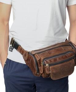 Túi da đeo bụng nam - BHM8355 chuẩn da bò 100%