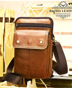Túi da đeo chéo nam  - BHM8328 - Màu Nâu bò