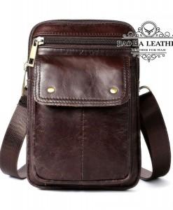 Túi da đeo chéo nam  - BHM8328 - Màu nâu đậm