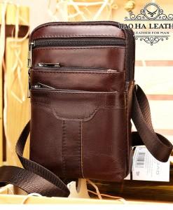 Túi nam đeo hông - đeo chéo nhỏ - BHM8326 - Màu Cà phê