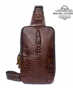 Túi đeo ngực da bò vân cá sấu BHM1039 Màu Nâu cà phê