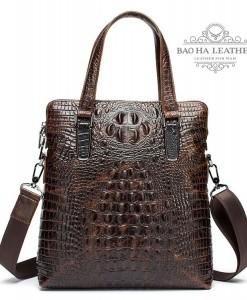 Túi xách công sở nam da bò họa tiết da cá sấu BHM9036 (4)