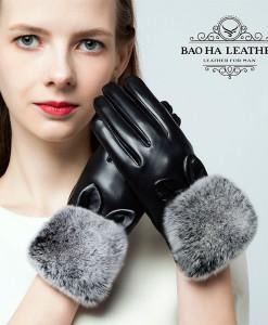 Găng tay da cừu cổ lông cao cấp BH6745