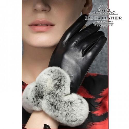 Găng tay da cừu cổ lông cao cấp BHY8582