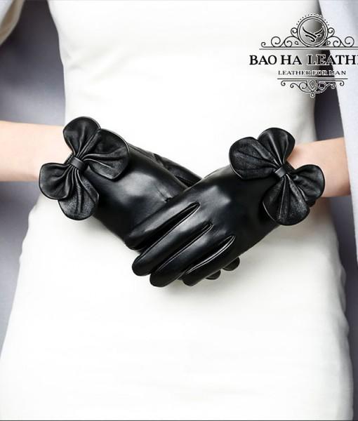 Găng tay da cừu nữ đính nơ - BH6731 (5)