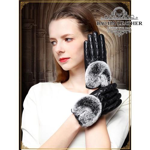 Găng tay da cừu nữ trần trám cao cấp BH6746 - Màu Đen