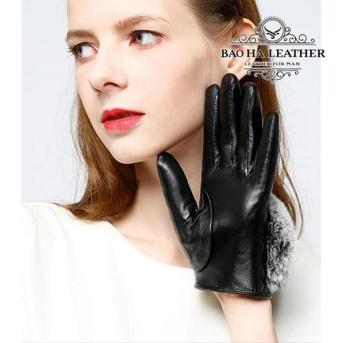 Găng tay da cừu nữ trần trám cao cấp BH6746
