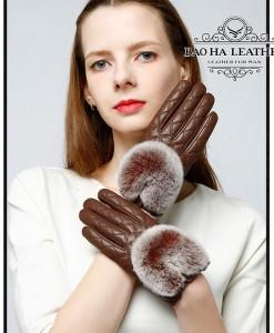 Găng tay da cừu nữ trần trám cao cấp BH6746 - Màu Nâu