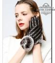 Găng tay da cừu nữ trần trám cao cấp BH6746 - Màu Cà phê