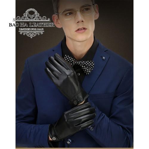 Găng tay da thật cao cấp BH6266 - Màu Đen lịch lãm