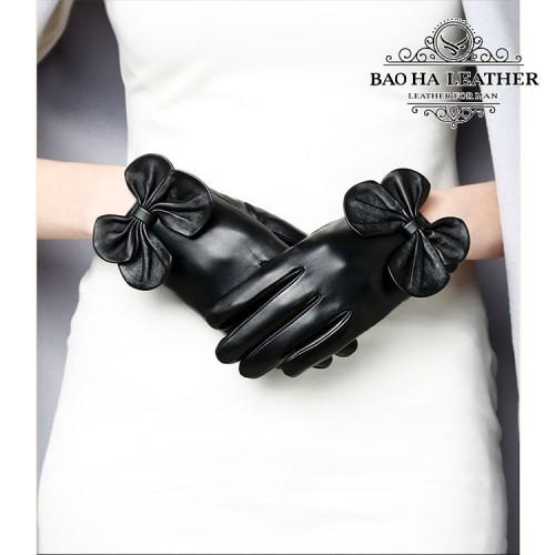 Găng tay da cừu nữ đính nơ - BH6731