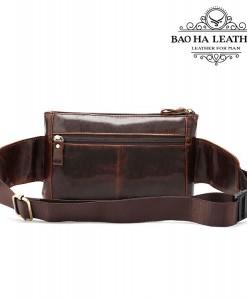 Túi đeo bụng da bò BHM8398C - Mặt sau túi