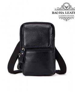 Túi đeo chéo nhỏ da bò - BHM1024D Màu Đen