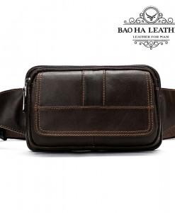 Túi đeo trước bụng nam da bò - BHM8966C màu cà phê