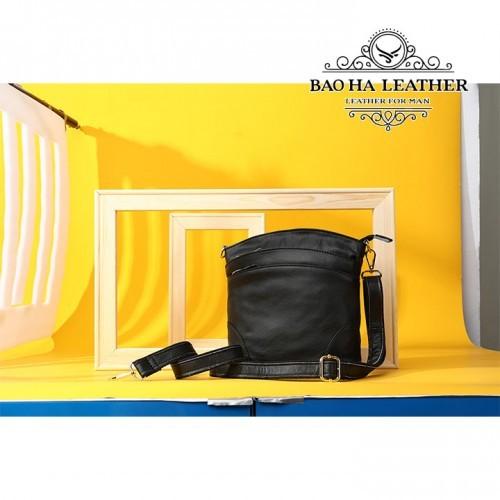 Túi đeo chéo nữ da bò giá rẻ - BHW8363 màu Đen