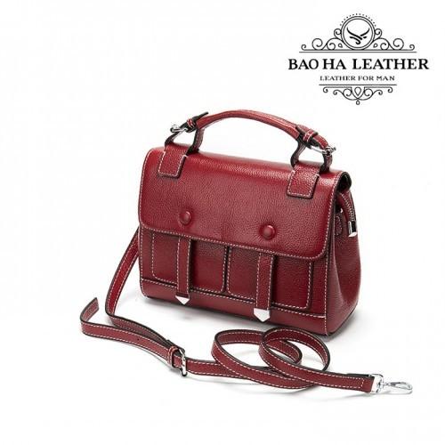 Túi đeo chéo nữ da bò cao cấp BHW288 màu Đỏ