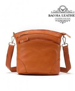 Túi đeo chéo nữ da bò giá rẻ - BHW8363 màu Nâu Cam