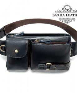Túi da đeo bụng - BHM9080 Màu Xanh Đen