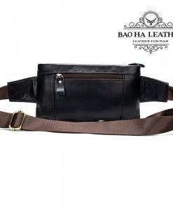 Túi da đeo bụng - BHM9080 Màu Xanh Đen - Phía sau túi được thiết kế thêm 1 ngăn khóa kéo.
