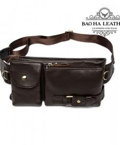 Túi da đeo bụng - BHM9080 Màu Nâu Cà phê