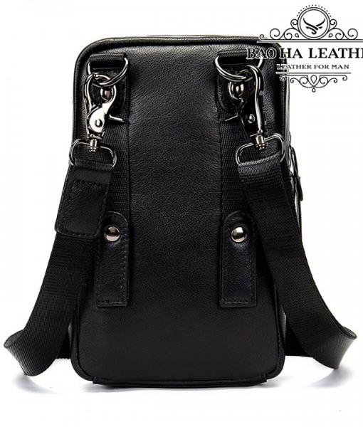 Túi da nam đeo hông da thật - BHM711 - Mặt sau túi với móc đeo chéo và khe cài dây lưng