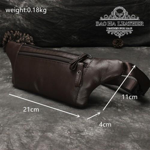 Túi nam đeo bụng da bò - BHL140N - Màu Cà phê
