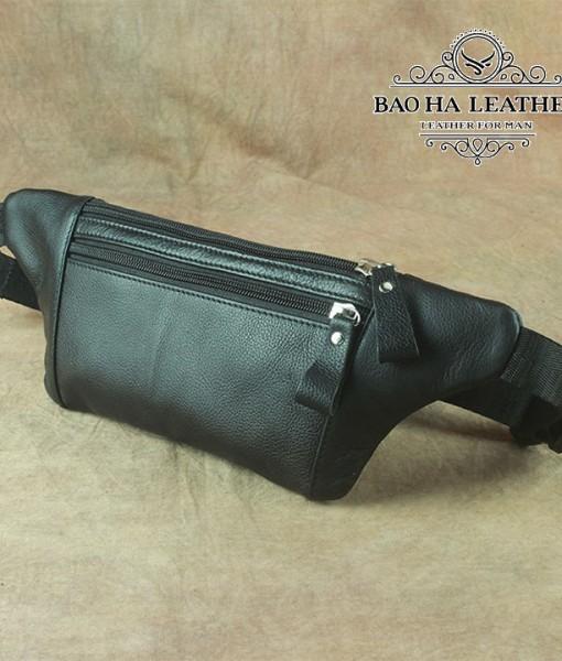 Túi nam đeo bụng da bò - BHL140D Màu Đen
