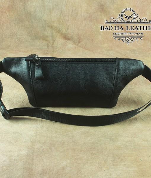 Túi nam đeo bụng da bò - BHL140D Màu Đen - mặt sau túi